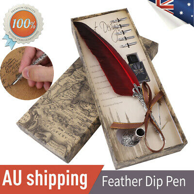Retro Feather Pen Metal Quill+5 Metal Nibs Fountain Dip Ink Bottle Set Xmas Gift