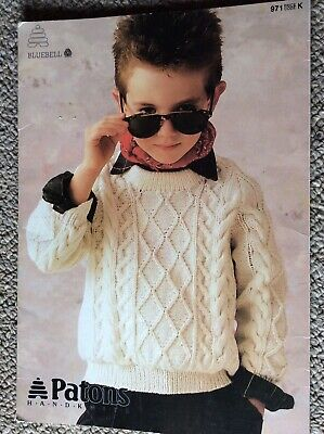 Vintage Patons Children's Knitting Pattern Booklet 971 Bluebell Jumpers