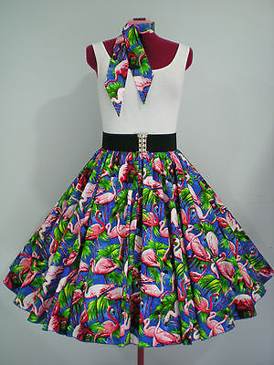 "ROCK N ROLL/ROCKABILLY ""Flamingos"" SKIRT & SCARF S-M Royal Blue/Pink/Green."