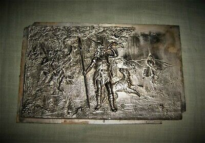 Antique Architectural Frieze Norse Warrior Hunting Winged Helmet Forest Lead