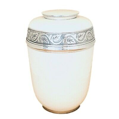 Well Lived® White Enameled Adult Cremation Urn for human ashes