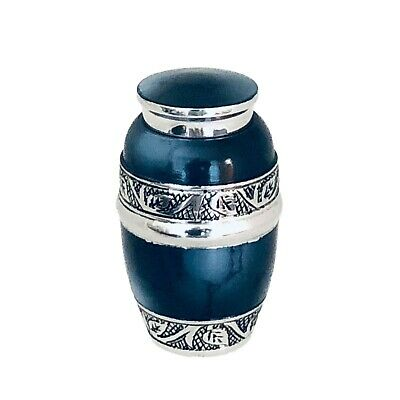 Well Lived® Blue Enameled Small Keepsake Cremation Urn for human ashes