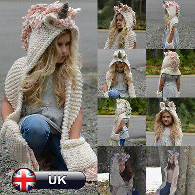 Girls Boys Unicorn Hat Hooded Scarf Set Winter Knitted Hat Scarf Set Toddler Cap