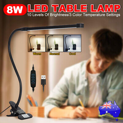 Clip On Table Lamp Desk Bedside Reading Led Light Dimmable Switch USB Eye Care