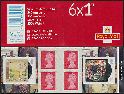 GB Walsall 6x1st Class Cylinder Elton John Retail Booklet Printed on SBP2i