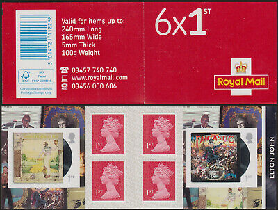 GB Walsall 6x1st Class Plain Elton John Retail Booklet Printed on SBP2i