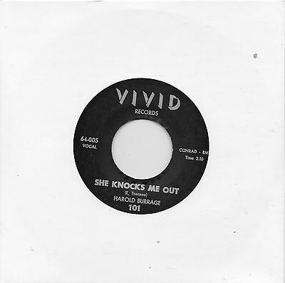 HAROLD BURRAGE   SHE KNOCKS ME OUT /A HEART  VIVID Re-Issue/Re-pro  R&B/NORTHERN