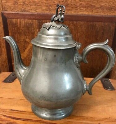 Antique Pewter Tea / Coffee Pot With Leaf Design Top