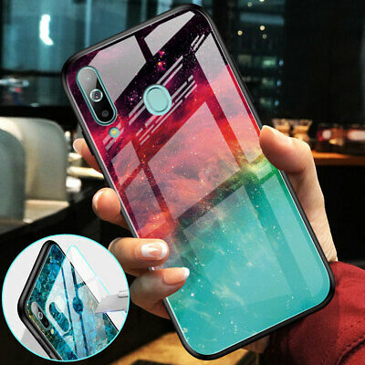 Hybrid Marble Gradient Hard Glass Case for Samsung Galaxy A50 A70 A7 2018 Cover