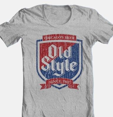 Old Style Beer T-shirt Heileman's vintage style cotton blend grey graphic tee