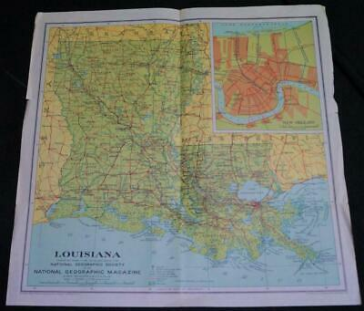 National Geographic Society Map - State Of Louisiana 1930 Vintage