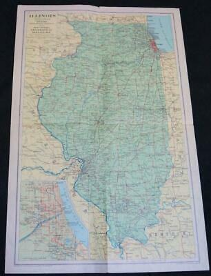 National Geographic Society Map - State Of Illinois 1931 Vintage