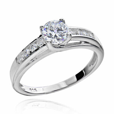 Sterling Silver Round Cut Cubic Zirconia Jewelry Women's Engagement Wedding Ring