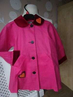 BNWOT Girls Stunning WEE WINNIE MAGEE Pink linen Coat with velvet collar Age 5
