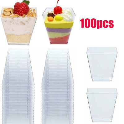 100pcs 60ML Crystal Clear Hard Plastic Disposable Dessert Cocktail Cups Tumblers