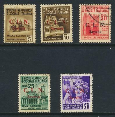 """Savona Italy National Liberation Commitee """"Cln"""" 1945 Vf Used (See Below"""