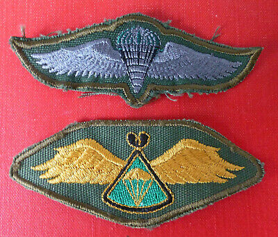 2 X Africa Airborne Forces Parachute Wings Zambia + #1 Lesotho African Para Wing