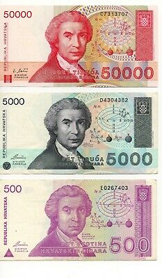 CROATIA  -  3   great different  HIGH VALUES    notes
