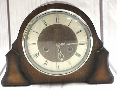 Vintage SMITHS ENFIELD Wooden PENDULUM Mantle Clock With Key Circa 1930s - P05