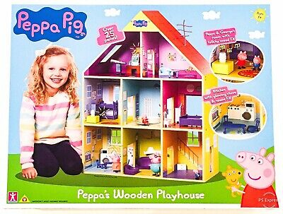 Peppa Pig Wooden Playhouse & 25 Accessories Girls Boys Toy House Gift 3+ Years