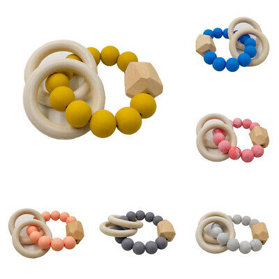 Baby Rattles Ring Chewable Beads Silicone Wooden Bracelet Toys Teether Teething