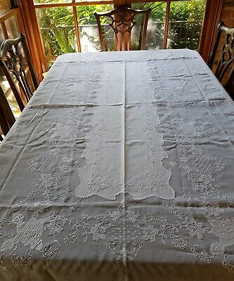 Vintage Organdy Embroidered White Work Aplique Tablecloth & 12 Napkins 250cm
