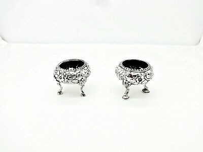 Pair 1850'S S.kirk & Son Repousse 11Oz  Mule Footed Sterling Silver Salt Cellars