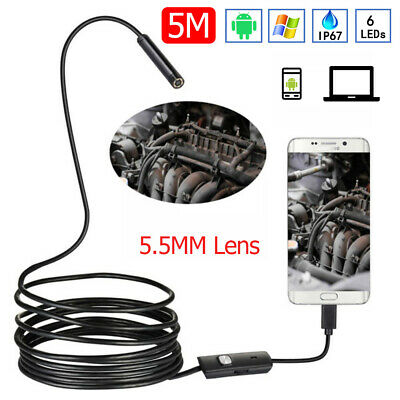 5.5mm USB Endoscope 6 LED Borescope Inspection Camera 5m Cable For Android PC