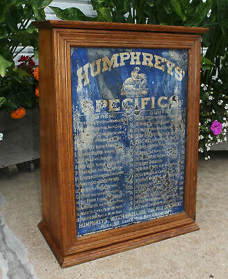 Humphrey's Specifics Slant Front Country Store Medicine Display Cabinet Wood Tin