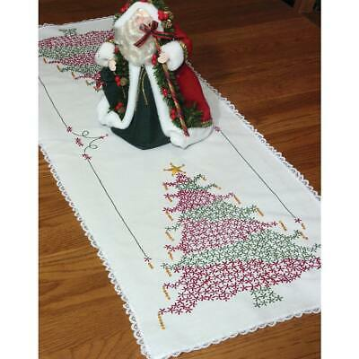 "Fairway Stamped Lace Edge Table Runner 15""X42""-Christmas Tree, 27024"