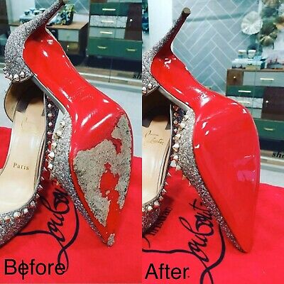 Red Mirrored Self Adhesive shoe soles for Christian Louboutin shoes for repair