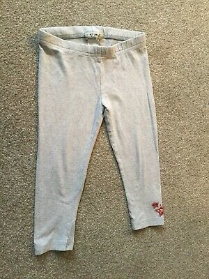 NEXT girls Cropped Leggings, Aged 5, Grey With Pink Sparkle