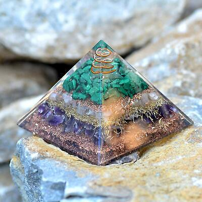 Extra Large70-75MM Orgone Pyramid Rose Quartz Amethyst Malachite Love Attraction