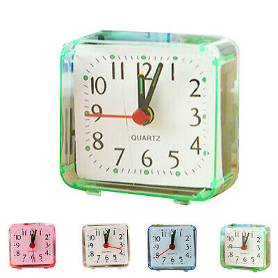 Square Alarm Clock Transparent Case Compact Travel Clock Desk Watch