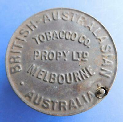 British Australasian Tobacco Rare Early Melbourne Embossed Steel Tin 1900s