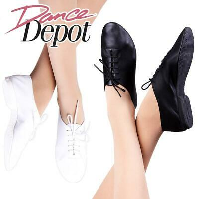 Dance Depot Girls Full Rubber Sole Soft Leather Jazz Shoes Black or White