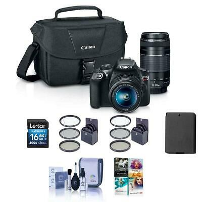 Canon EOS Rebel T6 DSLR with 18-55mm IS  75-300mm III Lens and Free Accessories