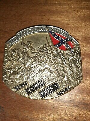 Solid Brass Large Metal Belt Buckle Johnny Reb 1861 To 1865 9cm By 8cm
