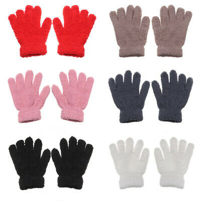 Soft Warm Cartoon Baby Coral Plush Mittens Full Fingers Kids Gloves Candy Color