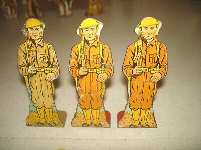Vintage 1930s MARX TIN LITHO SOLDIER TARGET - Lot 3 PRIVATES AT ATTENTION 5 pts