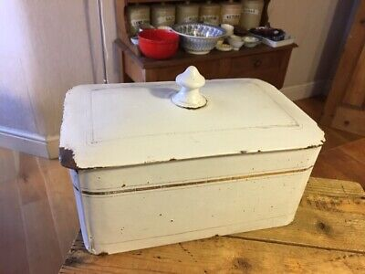 Vintage Large White Enamel Rectangular Lidded Storage Tin / Box – Cakes?