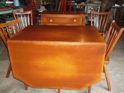 Vintage Cushman Colonial Creations Maple Dining Table 2 leaves 4 Chairs & Buffet
