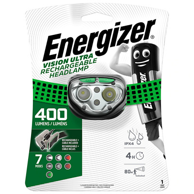 Energizer Vision Ultra USB Rechargeable LED Head Torch 400 Lumens Headlight Lamp
