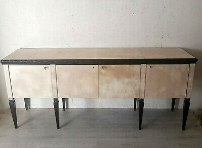 Rare Italian Black Lacquered And Parchment Art Deco Sideboard From 1940