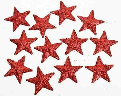 Ruby Red Glitter Star Shaped Acrylic Accents 48 pcs
