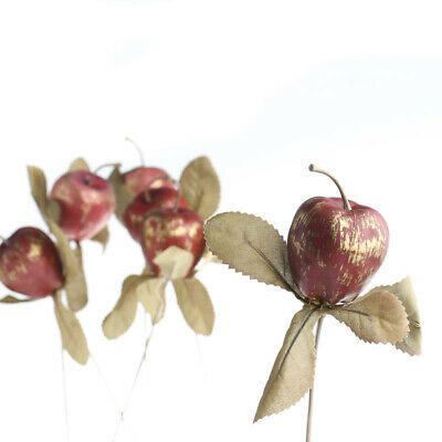 12 Rustic Red and Gold Foam Apple Picks for Floral Arranging, Creating