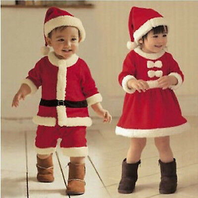 Baby Girls Xmas Santa Costume Party Jumpsuits Christmas Outfit Hats Dresses Sets