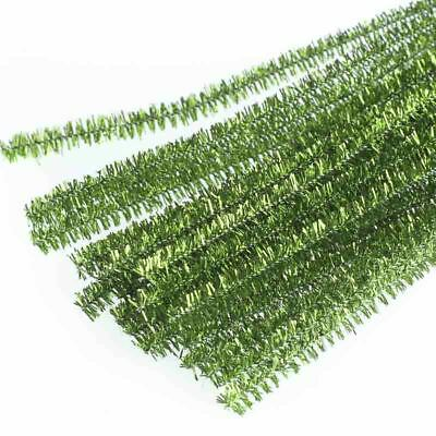 Factory Direct Craft Apple Green Metallic Tinsel Pipe Cleaners | 150 Pieces