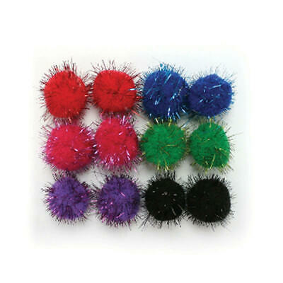 Factory Direct Craft Multicolored Tinsel Craft Pom Poms | 72 Pieces