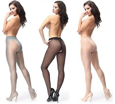 Crotchless 40 Denier Sheer Gloss Tights Open Crotch Gusset By Miss O 4 Colours